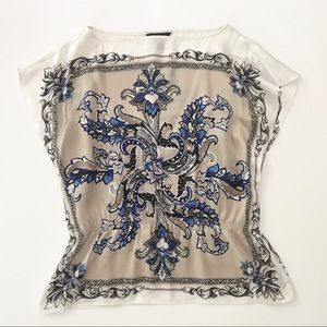 WHBM Silk Scarf Print Top